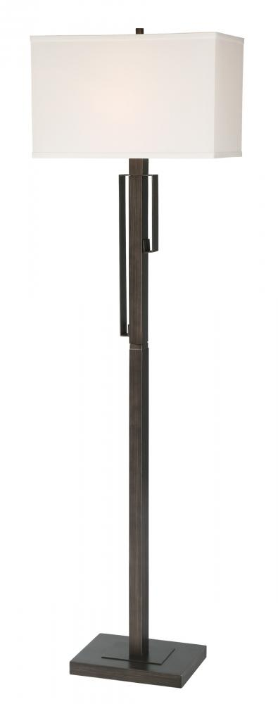 Floor Lamp, Brushed Black/White Fabric Shade, E27 A 100W