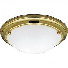 Progress P3562-10EB - Two Light Polished Brass Satin White Glass Bowl Flush Mount