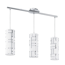 Eglo 92563A - 3x60W Multi Light Pendant w/ Chrome Finish & White Décor Glass