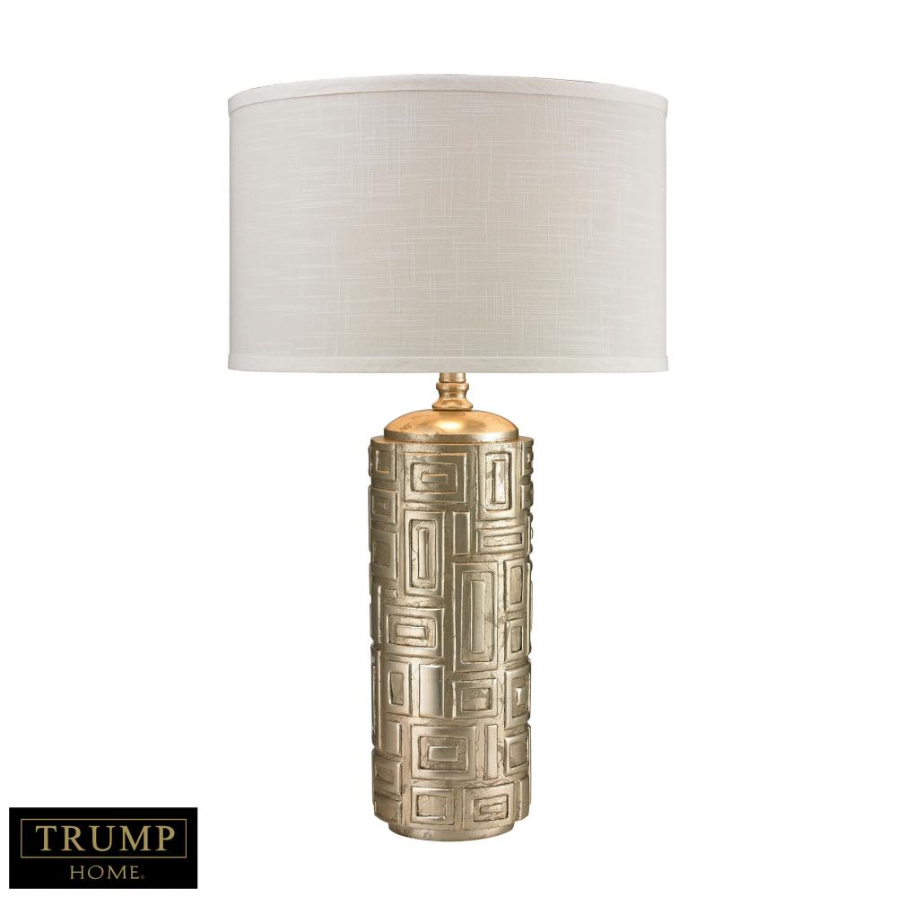 Trump Home Geometric Pattern Drum Table Lamp In Silver Leaf