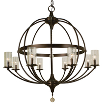 Framburg 1078 MB/F - 8-Light Mahogany Bronze/Frosted Glass Compass Foyer Chandelier