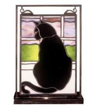 "Meyda Tiffany 56834 - 9.5""W X 10.5""H Cat in Window Lighted Mini Tabletop Window"