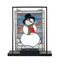 "Meyda Tiffany 68340 - 9.5""W X 10.5""H Snowman Lighted Mini Tabletop Window"